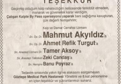 Hürriyet Gazetesi / Osman Saral ve Ailesi Teşekkür (22.03.2012)