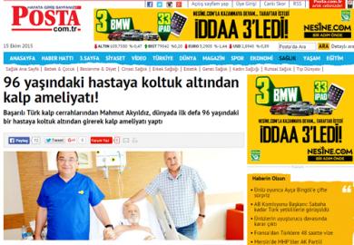 Posta Gazetesi / 96 yaşındaki hastaya koltuk altından kalp ameliyatı! (26.06.2014)