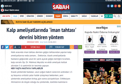 Sabah Gazetesi / Kalp ameliyatlarında 'iman tahtası' devrini bitiren yöntem (02.06.2013)