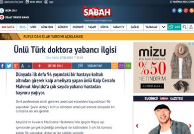 Sabah Gazetesi /Ünlü Türk doktora yabancı ilgisi (27.06.2014)