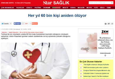 Star Gazetesi / Her Yıl 60 Bin Kişi Aniden Ölüyor (10.12.2012)