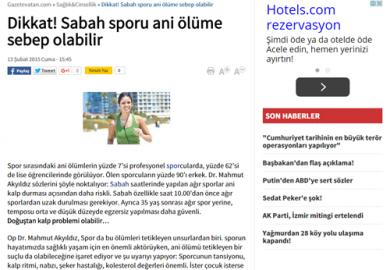 Dikkat! Sabah sporu ani ölüme sebep olabilir (13.02.2015)